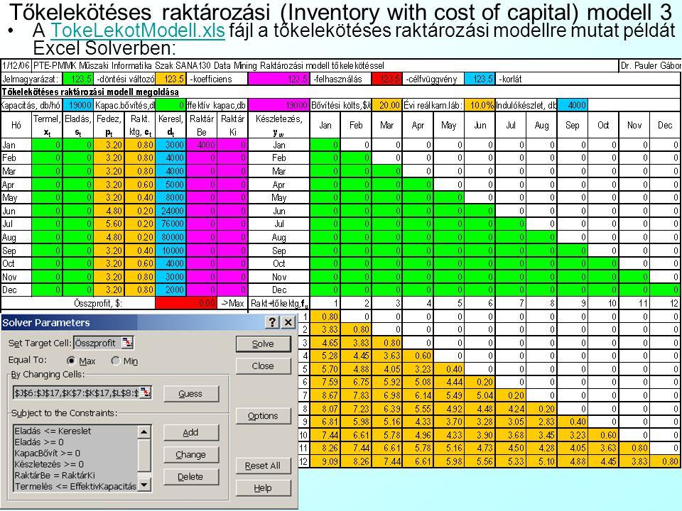 Tőkelekötéses raktározási (Inventory with cost of capital) modell 2 Tegyük fel, hogy a napolajgyár r 1 =10% éves reálkamatlábú hitelből finanszíroza k