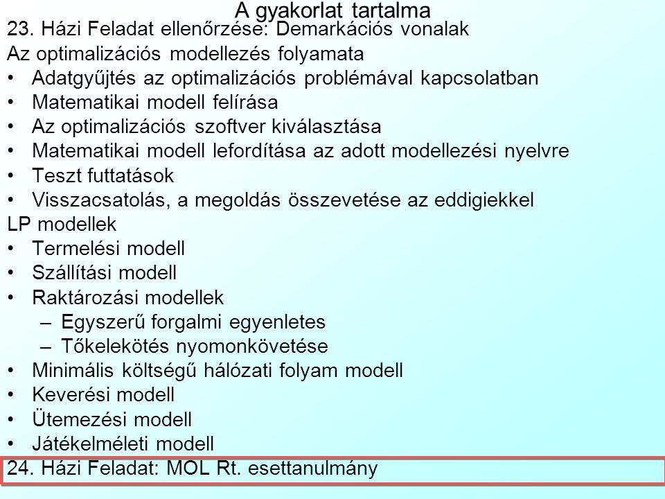 Nem egyensúlyi, nulla összegű játék kiegyensúlyozása LP modellel 3 A JatekElmeletiModell.xls fájl nem egyensúlyi, nulla összegű játék kiegyensúlyozására mutat példát Excel Solver segítségével:JatekElmeletiModell.xls