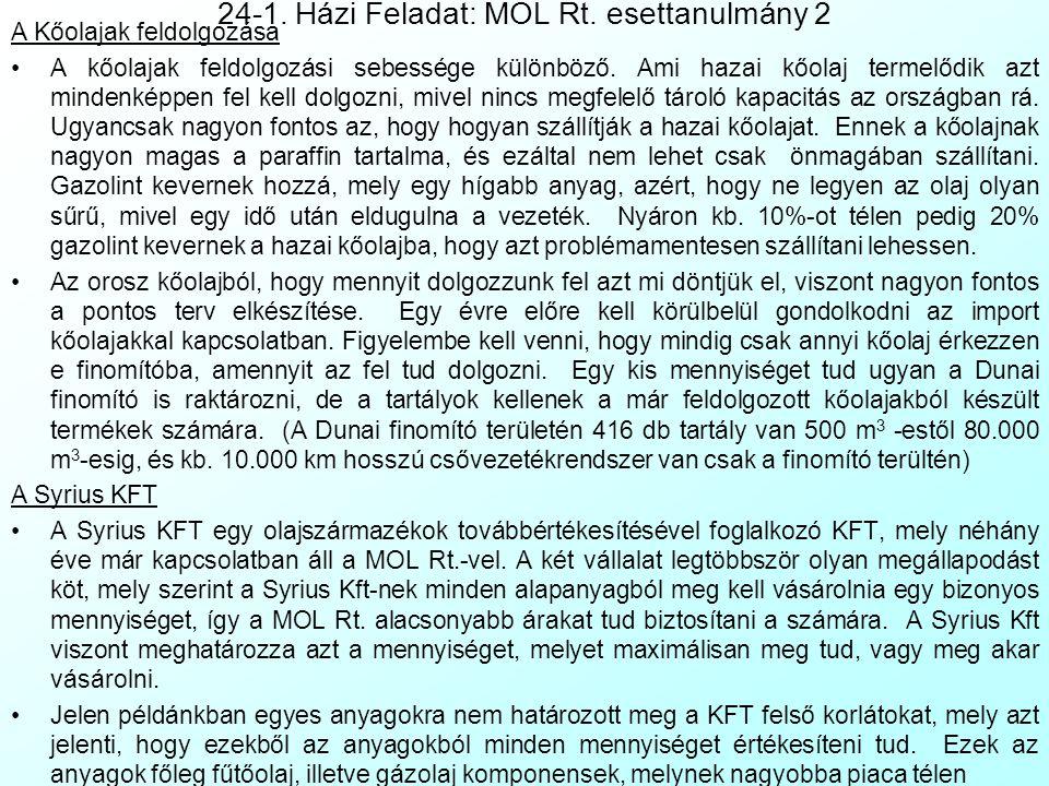 24-1. Házi Feladat: MOL Rt. esettanulmány 1 Készítette: Handó Anett, 1998 A MOL Rt. finomítóiról Magyarországon három nagy kőolaj-finomító létezik, a