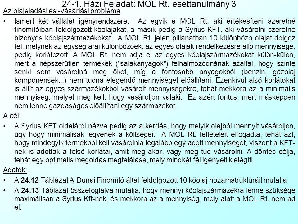 24-1. Házi Feladat: MOL Rt. esettanulmány 2 A Kőolajak feldolgozása A kőolajak feldolgozási sebessége különböző. Ami hazai kőolaj termelődik azt minde