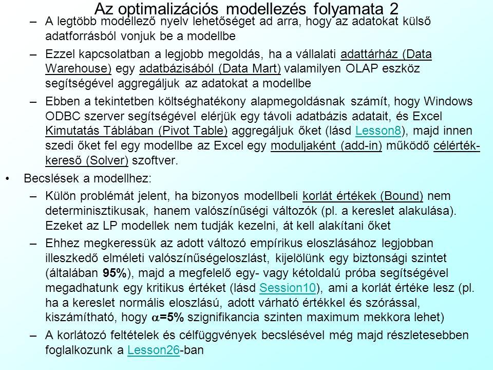 Termelési (Production) modell 5 A kész modell konkrét számadatokkal: Célfüggvény: (25–1.1×8)×x 1 + (31–1.1×11)×x 2 + (44–1.1×9)×x 3 /(Ár-Anyag)×Termelés – 20l A – 25l B – 40l C /Bérköltség – 2y 11 – 3.5y 12 – 4y 21 – 1.5y 22 – 2y 31 – 2.5y 32 /Gépköltség = z → Max /Nyereség (24.29) Subject to x 1, x 2, x 3, l A, l B, l C, y 11, y 12, y 21, y 22, y 31, y 32 ≥ 0(24.30) 0.3x 1 + 0.5x 2 + 0.8x 3 - l A - l B - l C = 0 /Munkaerő-egyenlet (24.31) x 1 - y 11 - y 12 = 0; x 2 - y 21 - y 22 = 0; x 3 - y 31 - y 32 = 0 /Termék-egyenletek (24.32) x 1 ≤ 1100; x 2 ≤ 900; x 3 ≤ 700 /Termékek keresleti korlátai (24.33) y 11 + y 21 + y 31 ≤ 2000; y 12 + y 22 + y 32 ≤ 1500 /Gépek kapacitásai (24.34) l A ≤ 336; l B ≤ 336; l C ≤ 168 /Műszakok kapacitáskorlátai (24.35)