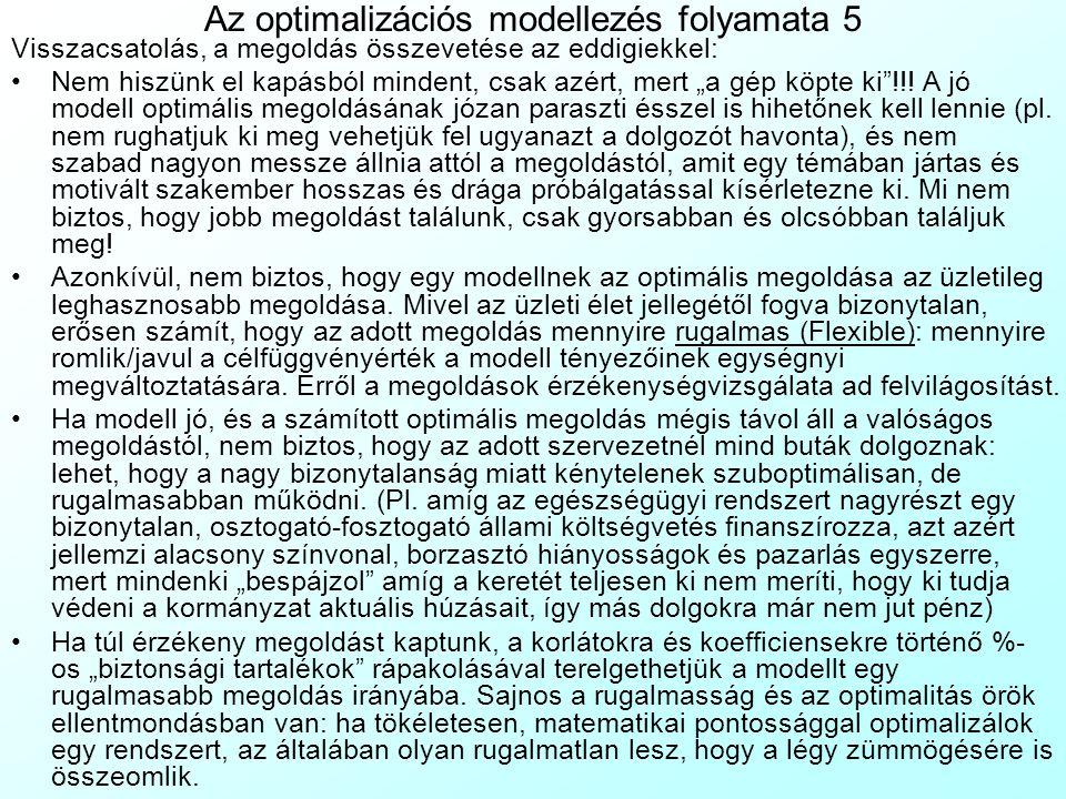 Az optimalizációs modellezés folyamata 4 Ingyenes internetes modell könyvtárak rendelkezésre állása Könnyen kezelhető grafikus felhasználó felület (Gr