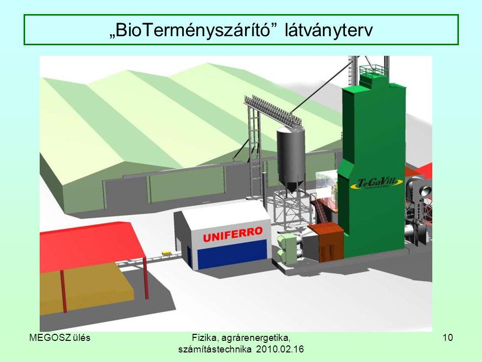 """MEGOSZ ülésFizika, agrárenergetika, számítástechnika 2010.02.16 10 """"BioTerményszárító"""" látványterv"""