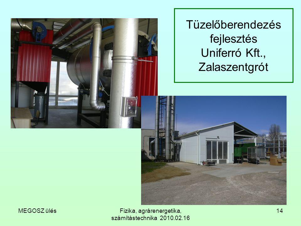 MEGOSZ ülésFizika, agrárenergetika, számítástechnika 2010.02.16 14 Tüzelőberendezés fejlesztés Uniferró Kft., Zalaszentgrót