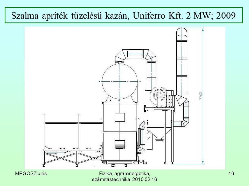 MEGOSZ ülésFizika, agrárenergetika, számítástechnika 2010.02.16 16 Szalma apríték tüzelésű kazán, Uniferro Kft. 2 MW; 2009