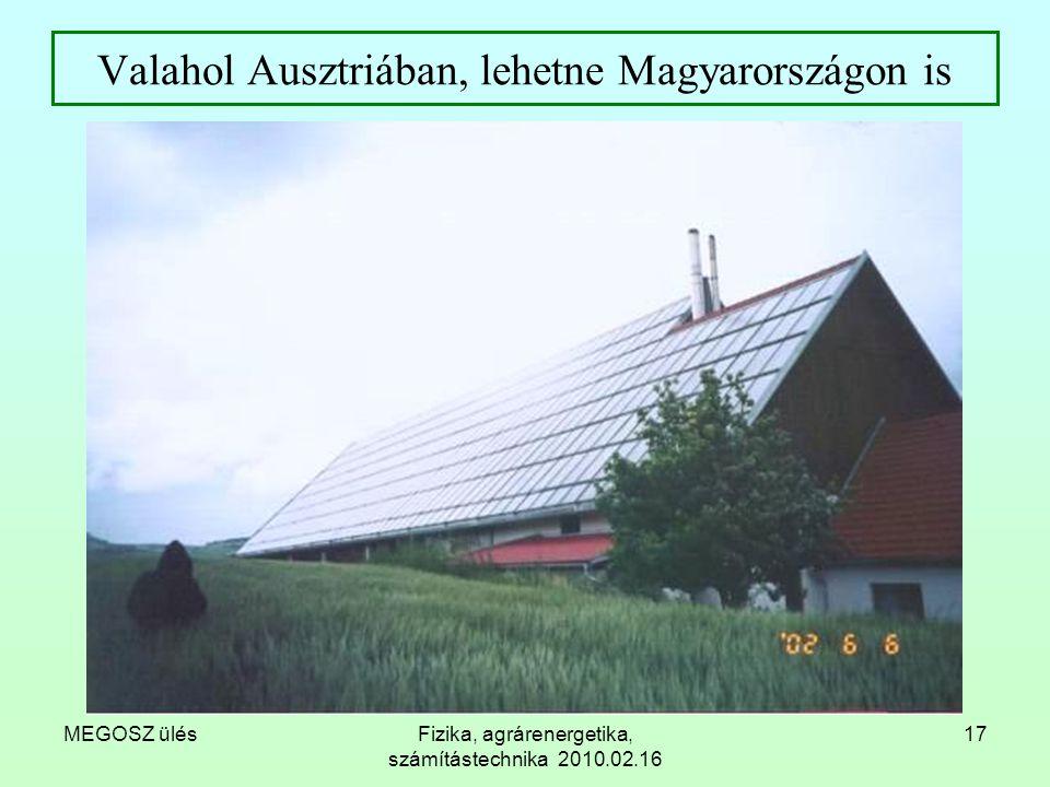 MEGOSZ ülésFizika, agrárenergetika, számítástechnika 2010.02.16 17 Valahol Ausztriában, lehetne Magyarországon is