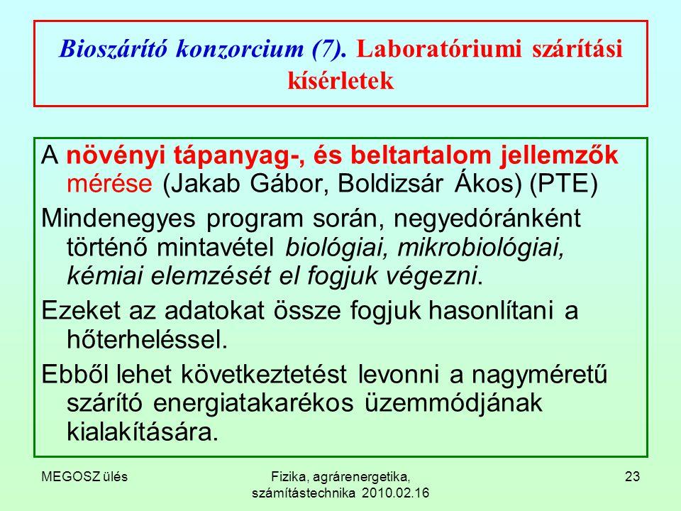 MEGOSZ ülésFizika, agrárenergetika, számítástechnika 2010.02.16 23 Bioszárító konzorcium (7). Laboratóriumi szárítási kísérletek A növényi tápanyag-,