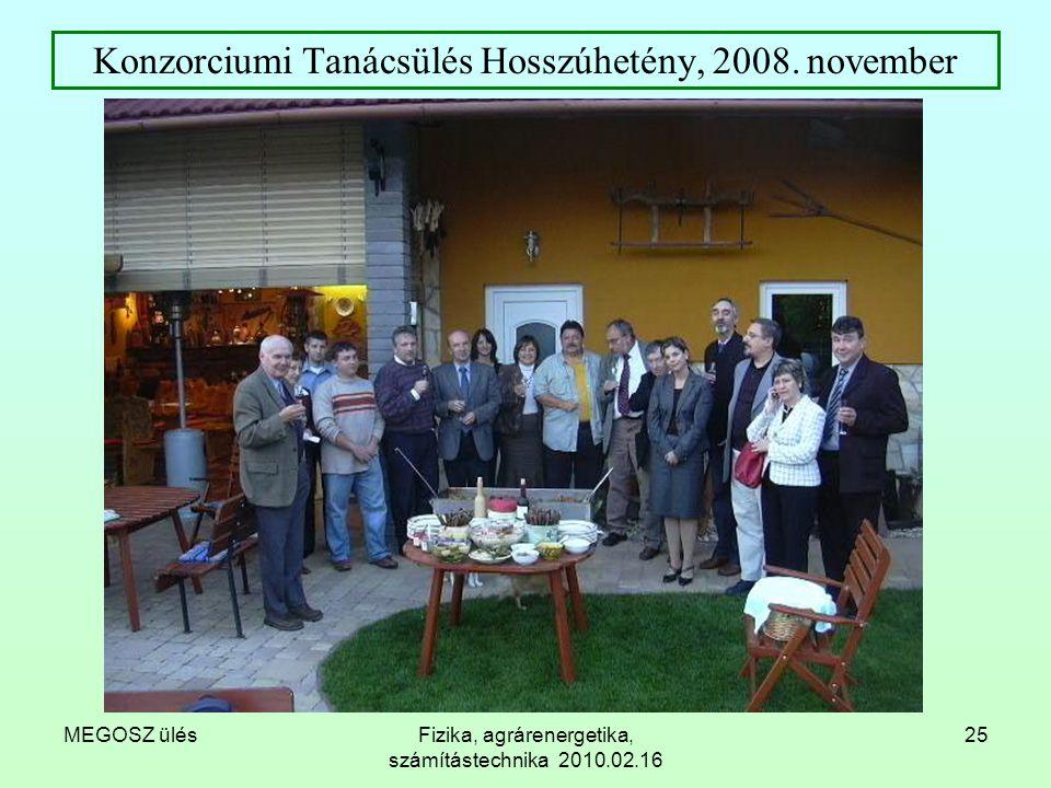 MEGOSZ ülésFizika, agrárenergetika, számítástechnika 2010.02.16 25 Konzorciumi Tanácsülés Hosszúhetény, 2008. november