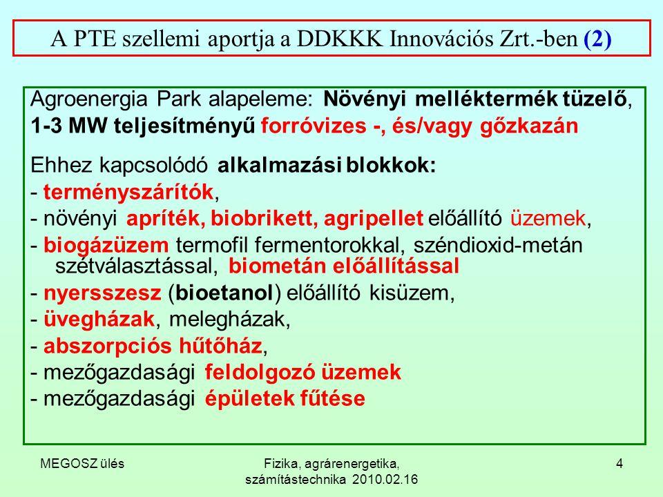 MEGOSZ ülésFizika, agrárenergetika, számítástechnika 2010.02.16 5 A PTE szellemi aportja a DDKKK Innovációs Zrt.-ben (3) Az Agroenergia Park hő-, és elektromos energia ellátását kimeríthetetlen forrásokkal (napsugárzás, geotermia) is összekapcsoljuk.