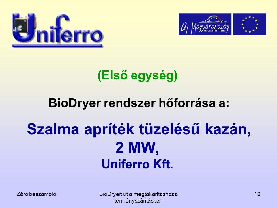 Záro beszámolóBioDryer: út a megtakarításhoz a terményszárításban 10 (Első egység) BioDryer rendszer hőforrása a: Szalma apríték tüzelésű kazán, 2 MW,