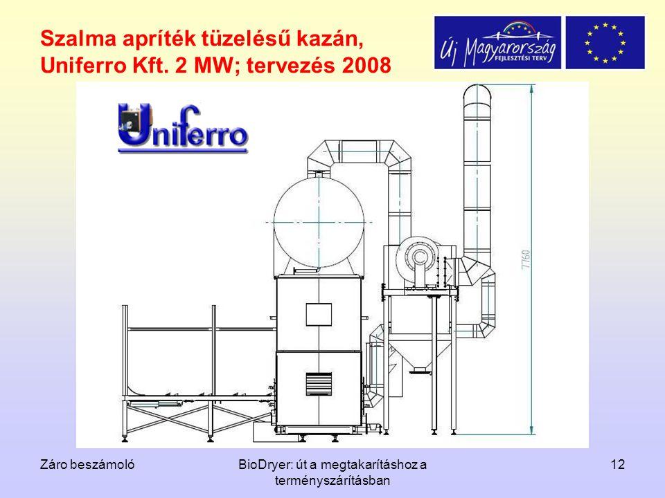 Záro beszámolóBioDryer: út a megtakarításhoz a terményszárításban 12 Szalma apríték tüzelésű kazán, Uniferro Kft. 2 MW; tervezés 2008