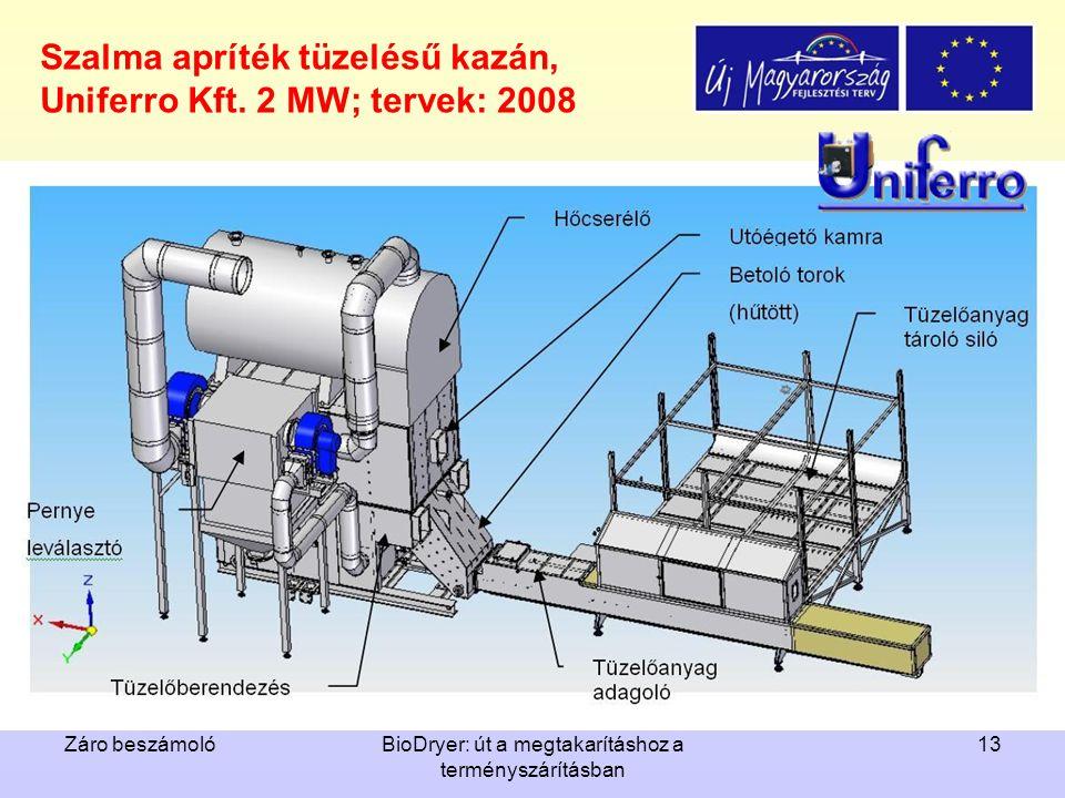 Záro beszámolóBioDryer: út a megtakarításhoz a terményszárításban 13 Szalma apríték tüzelésű kazán, Uniferro Kft. 2 MW; tervek: 2008