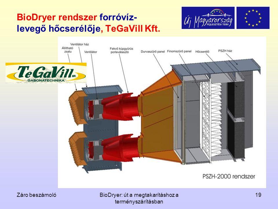Záro beszámolóBioDryer: út a megtakarításhoz a terményszárításban 19 BioDryer rendszer forróvíz- levegő hőcserélője, TeGaVill Kft.