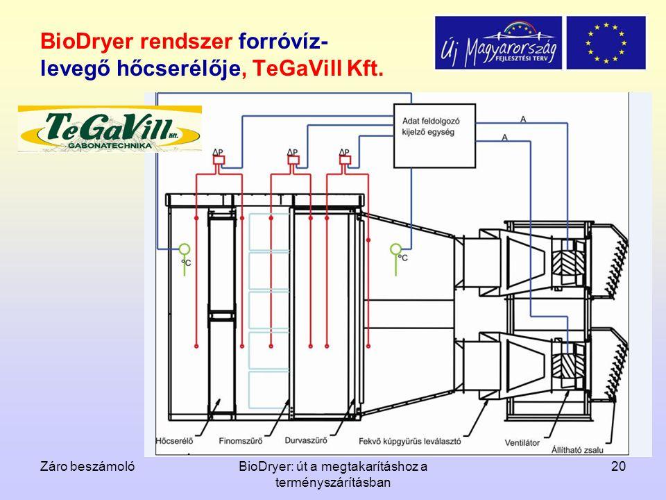 Záro beszámolóBioDryer: út a megtakarításhoz a terményszárításban 20 BioDryer rendszer forróvíz- levegő hőcserélője, TeGaVill Kft.