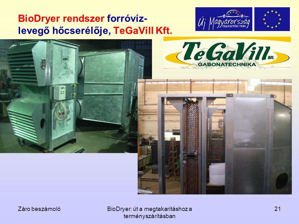 Záro beszámolóBioDryer: út a megtakarításhoz a terményszárításban 21 BioDryer rendszer forróvíz- levegő hőcserélője, TeGaVill Kft.