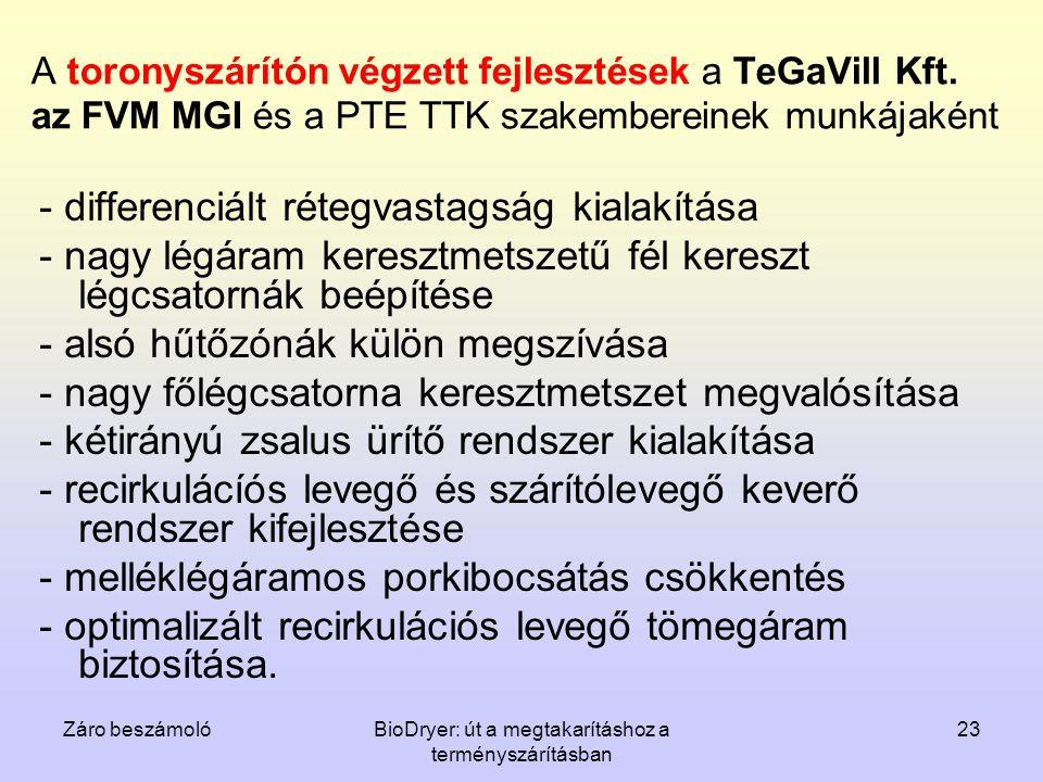 Záro beszámolóBioDryer: út a megtakarításhoz a terményszárításban 23 A toronyszárítón végzett fejlesztések a TeGaVill Kft. az FVM MGI és a PTE TTK sza