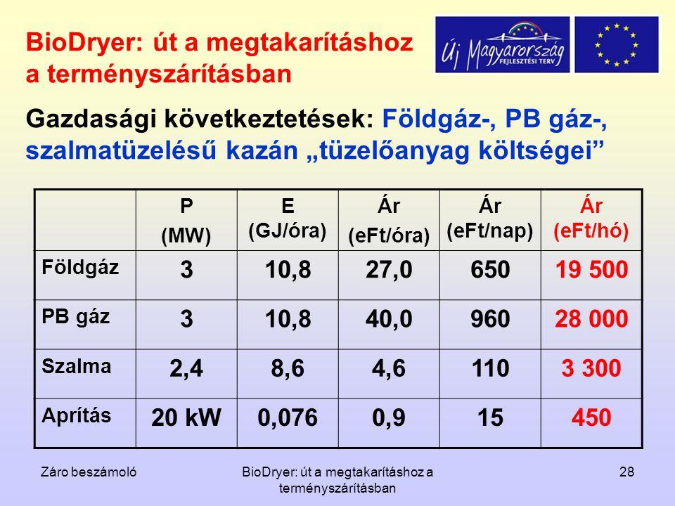 Záro beszámolóBioDryer: út a megtakarításhoz a terményszárításban 28 BioDryer: út a megtakarításhoz a terményszárításban P (MW) E (GJ/óra) Ár (eFt/óra