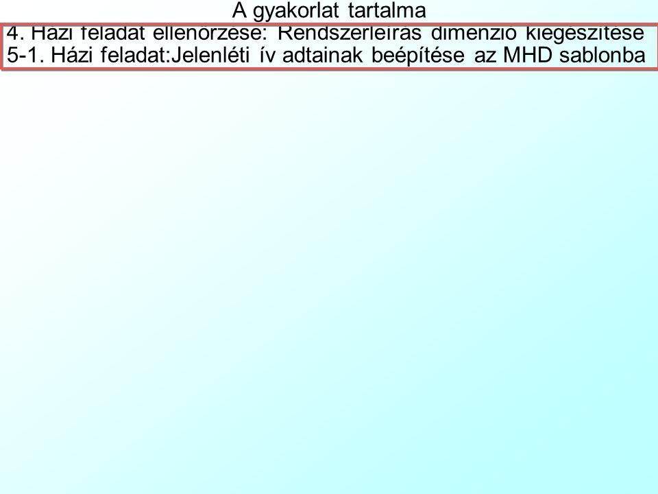 A gyakorlat tartalma 4.Házi feladat ellenőrzése: Rendszerleírás dimenzió kiegészítése 5-1.