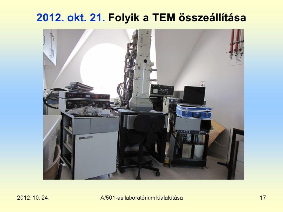 2012. 10. 24.A/501-es laboratórium kialakítása17 2012. okt. 21. Folyik a TEM összeállítása