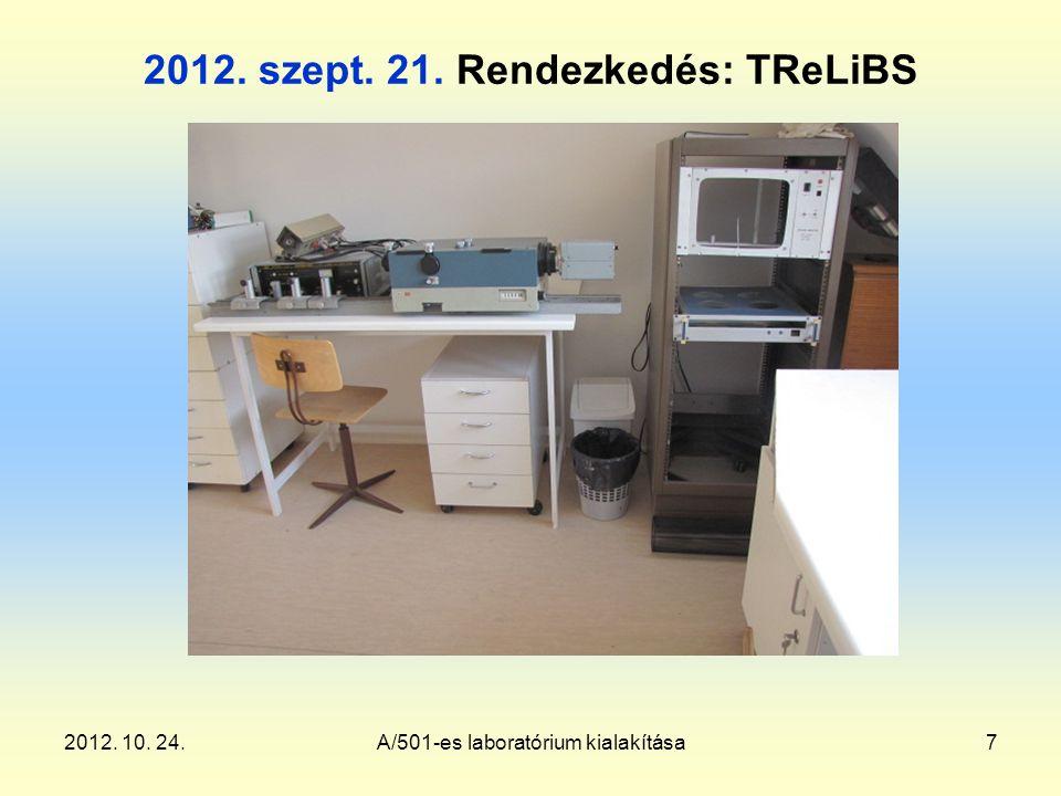 2012. 10. 24.A/501-es laboratórium kialakítása7 2012. szept. 21. Rendezkedés: TReLiBS