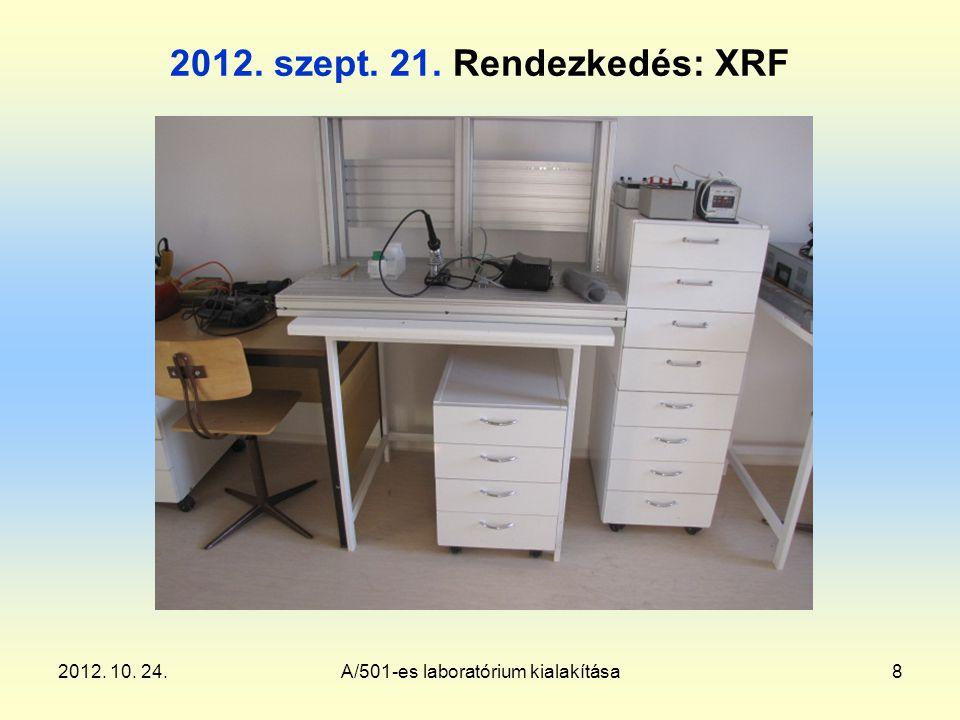 2012. 10. 24.A/501-es laboratórium kialakítása8 2012. szept. 21. Rendezkedés: XRF
