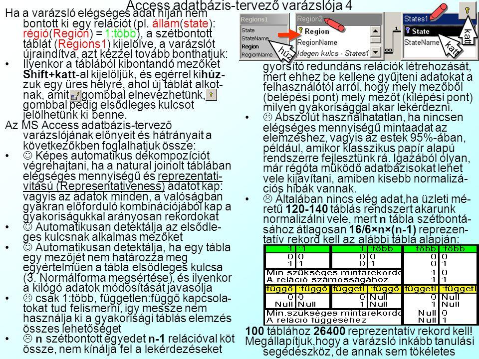 Access adatbázis-tervező varázslója 3 Ezenkívül nem ír fel olyan rendundáns relációkat, amelyek a lekérdezések gyorsításához kellenének: 1 államhoz(St