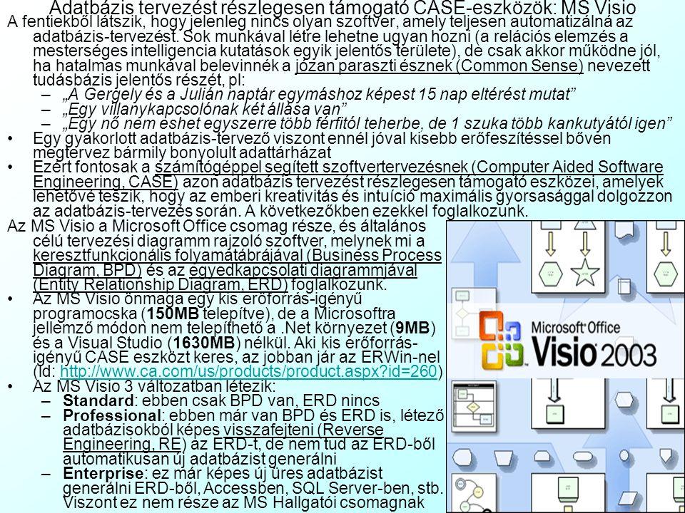 Az előadás tartalma Az adatbázis-tervezés automatizálási lehetőségei: Elméleti bevezető –A manuális adatbázis-tervezés problémái Az 1. Normálformánál