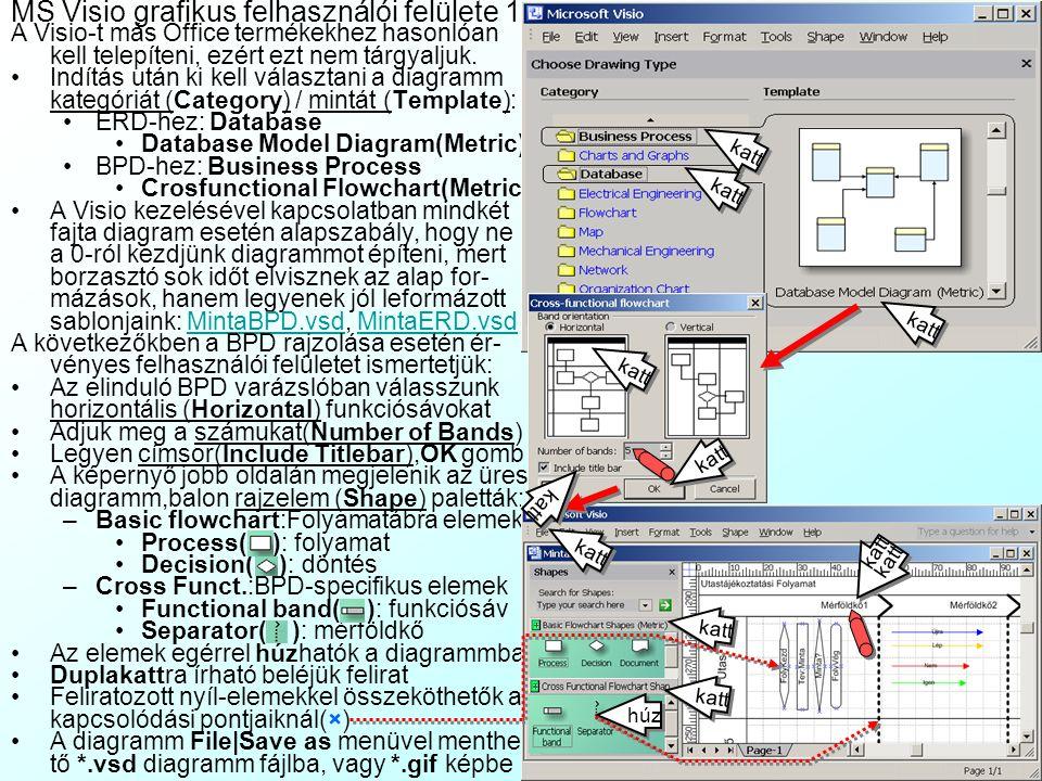 Adatbázis tervezést részlegesen támogató CASE-eszközök: MS Visio A fentiekből látszik, hogy jelenleg nincs olyan szoftver, amely teljesen automatizáln