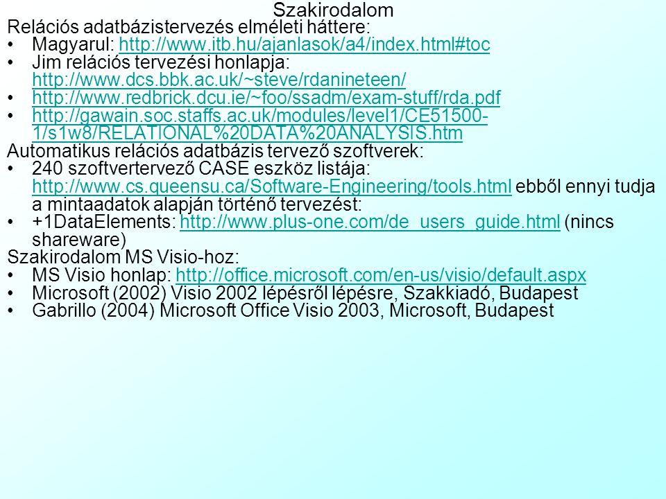 Adatbázis visszafejtés Visioban A Professional és Enterprise változat képes rá, hogy 1 létező adatbázisból (ld:Stores.mdb) visszafejtse (Reverse Engin
