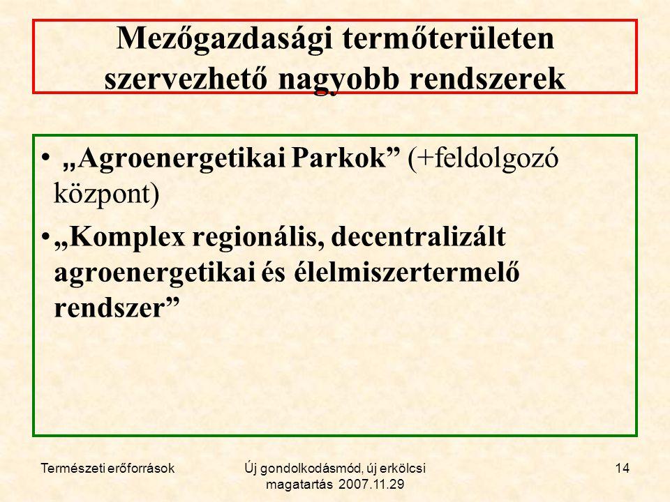 """Természeti erőforrásokÚj gondolkodásmód, új erkölcsi magatartás 2007.11.29 14 Mezőgazdasági termőterületen szervezhető nagyobb rendszerek """" Agroenergetikai Parkok (+feldolgozó központ) """"Komplex regionális, decentralizált agroenergetikai és élelmiszertermelő rendszer"""