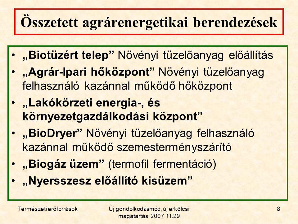 Természeti erőforrásokÚj gondolkodásmód, új erkölcsi magatartás 2007.11.29 19 Biodízel üzem.