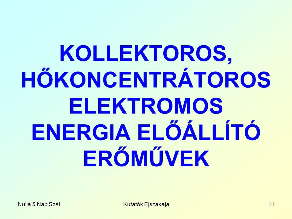 Nulla $ Nap SzélKutatók Éjszakája11 KOLLEKTOROS, HŐKONCENTRÁTOROS ELEKTROMOS ENERGIA ELŐÁLLÍTÓ ERŐMŰVEK