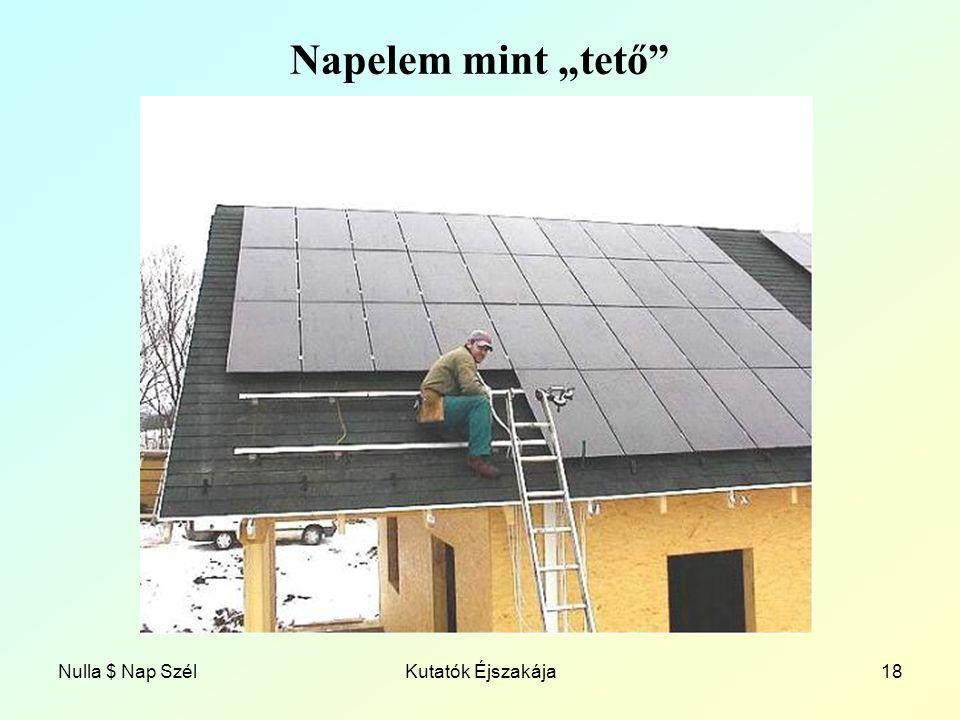 """Nulla $ Nap SzélKutatók Éjszakája18 Napelem mint """"tető"""
