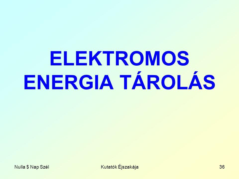 Nulla $ Nap SzélKutatók Éjszakája36 ELEKTROMOS ENERGIA TÁROLÁS