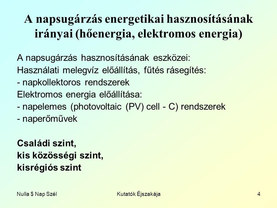 Nulla $ Nap SzélKutatók Éjszakája4 A napsugárzás energetikai hasznosításának irányai (hőenergia, elektromos energia) A napsugárzás hasznosításának eszközei: Használati melegvíz előállítás, fűtés rásegítés: - napkollektoros rendszerek Elektromos energia előállítása: - napelemes (photovoltaic (PV) cell - C) rendszerek - naperőművek Családi szint, kis közösségi szint, kisrégiós szint