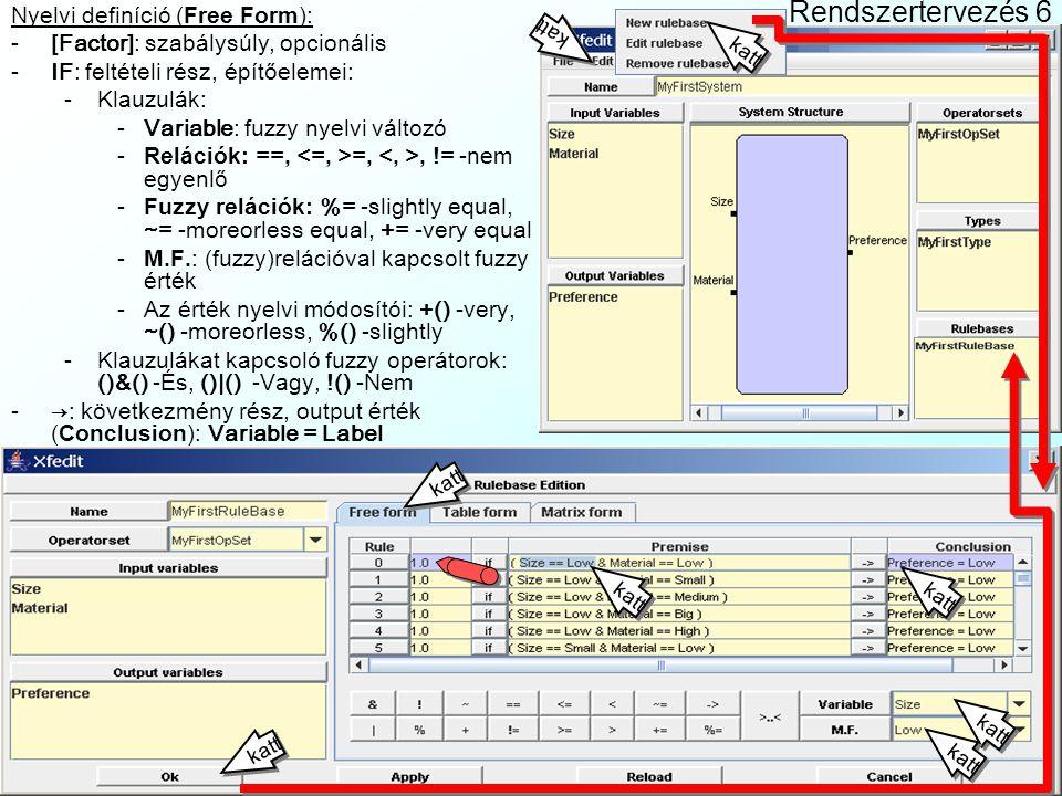 Rendszertervezés 5 Szabálybázis szerkesztő (Rulebase Edition): Edit| New rulebase menüvel indul Name: szabálybázis neve Operatorset: operátorhalmaz kiválasztása I/O variables + Ins billentyű: I/O változók –Name: változó neve –Type: típusa Mátrixos definíció (Matrix Form): Csak 2 input, 1 output változó esetén működik Cellákba értékcímkéket lehet csak beírni Szabály súlyok nem szerkeszthetők vele Táblázatos definíció (Table Form): Szabálysúly + változónkénti oszlopok Csak == relációk változók és értékek közt Lehetnek Don't Care szabályok Nem tud több szabályt 1 cellában kezelni katt Ins katt Ins katt