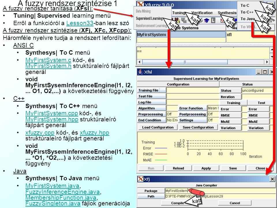 A fuzzy rendszer verifikációja 2 Szimulációval rendelkező rendszer megnyitása: File| Load system| truck.xfl - egy kamion kormányvezérlése tolatás közbentruck.xfl Szimulátor(XFsim):Verification|Simulationmenü Plant model: a hozzátartozó szimulátor algoritmus (pl.
