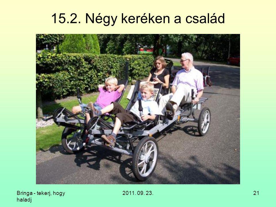 Bringa - tekerj, hogy haladj 2011. 09. 23.21 15.2. Négy keréken a család