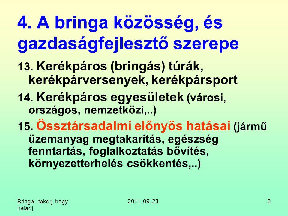 Bringa - tekerj, hogy haladj 2011.09. 23.24 5. A bringázás kisteljesítményű rásegítői 16.