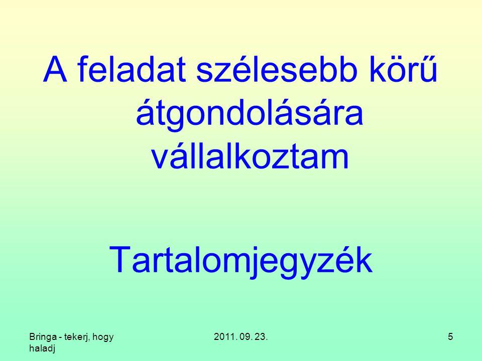 Bringa - tekerj, hogy haladj 2011. 09. 23.5 A feladat szélesebb körű átgondolására vállalkoztam Tartalomjegyzék