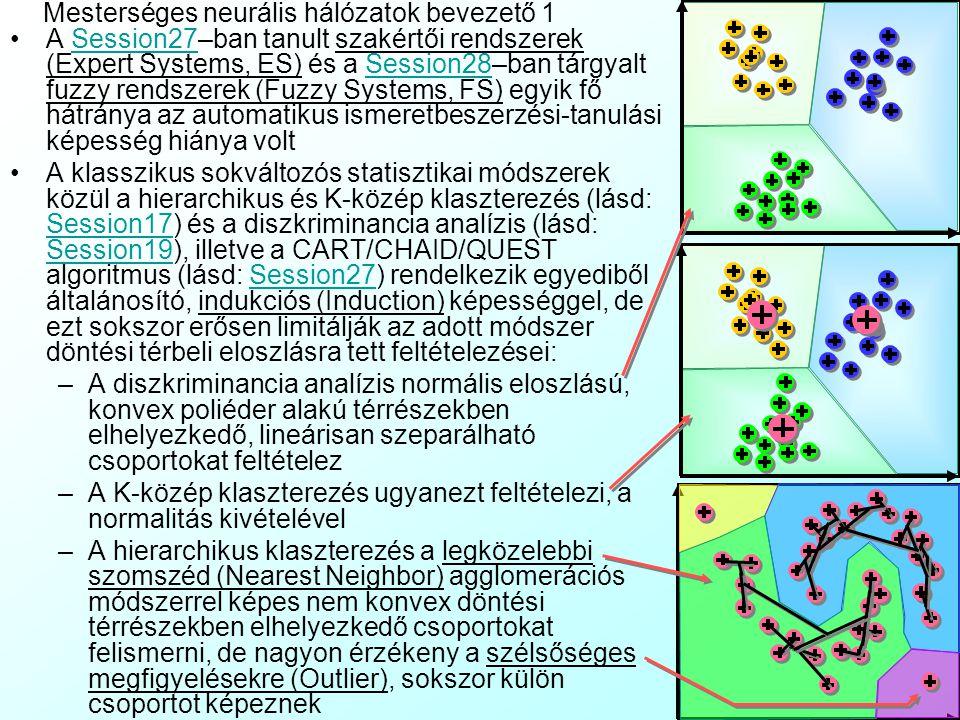 Mesterséges neurális hálózatok bevezető 1 A Session27–ban tanult szakértői rendszerek (Expert Systems, ES) és a Session28–ban tárgyalt fuzzy rendszerek (Fuzzy Systems, FS) egyik fő hátránya az automatikus ismeretbeszerzési-tanulási képesség hiánya voltSession27Session28 A klasszikus sokváltozós statisztikai módszerek közül a hierarchikus és K-közép klaszterezés (lásd: Session17) és a diszkriminancia analízis (lásd: Session19), illetve a CART/CHAID/QUEST algoritmus (lásd: Session27) rendelkezik egyediből általánosító, indukciós (Induction) képességgel, de ezt sokszor erősen limitálják az adott módszer döntési térbeli eloszlásra tett feltételezései: Session17 Session19Session27 –A diszkriminancia analízis normális eloszlású, konvex poliéder alakú térrészekben elhelyezkedő, lineárisan szeparálható csoportokat feltételez –A K-közép klaszterezés ugyanezt feltételezi, a normalitás kivételével –A hierarchikus klaszterezés a legközelebbi szomszéd (Nearest Neighbor) agglomerációs módszerrel képes nem konvex döntési térrészekben elhelyezkedő csoportokat felismerni, de nagyon érzékeny a szélsőséges megfigyelésekre (Outlier), sokszor külön csoportot képeznek