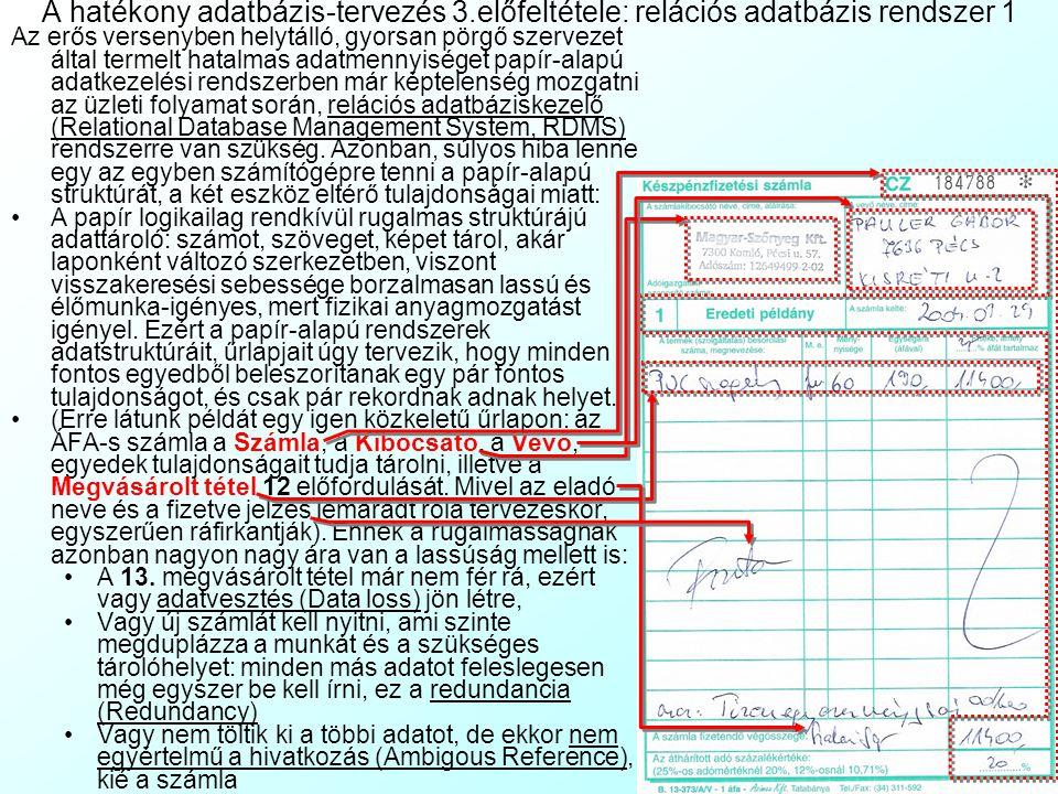 Az előadás tartalma Az adatbázis-tervezés fogalma A hatékony, korszerű adatbázis-tervezés feltételei: 1.