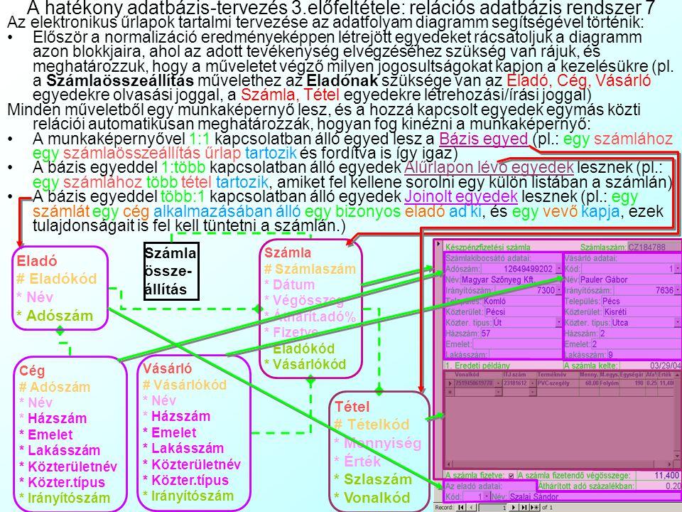 A hatékony adatbázis-tervezés 3.előfeltétele: relációs adatbázis rendszer 6 Cég # Adószám * Név * Házszám * Emelet * Lakásszám * Közterületnév * Közte