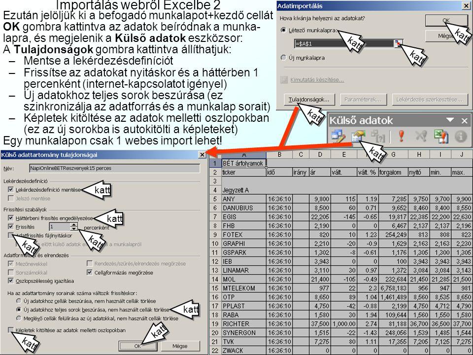 Importálás webről Excelbe1 Az Excel Adatok| Külső adatok importálása| Új weblekérdezés… menüjében: –Cím: a forrás webcíme (pl.