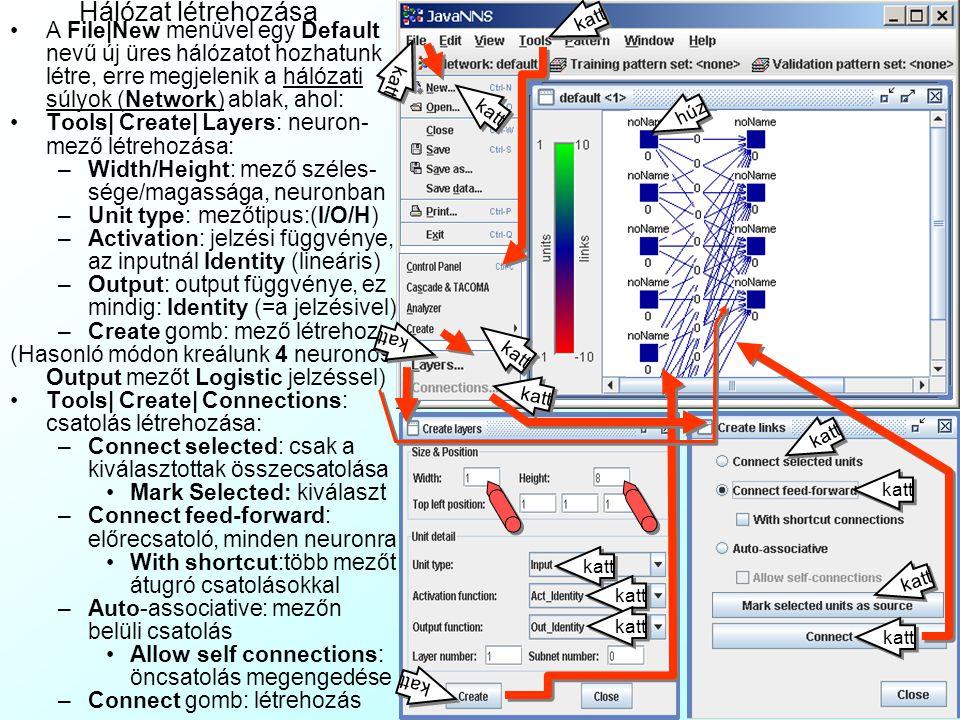 Hálózat megnyitása A File|Open menüvel a JNNS\ Samples alkönyvtárban lévő alkalmazás-mintákat nyithatunk meg.
