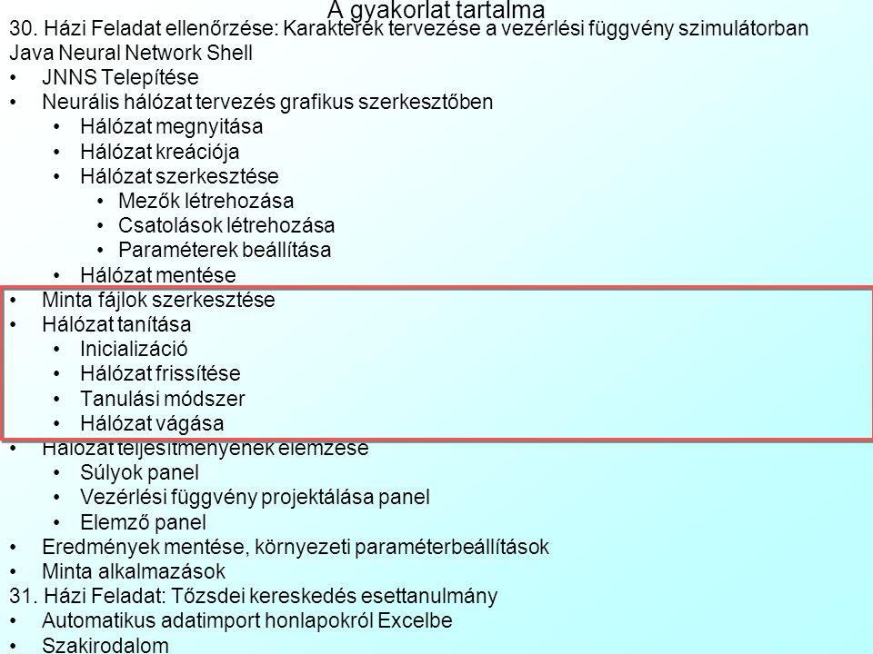 A hálózat mentése A hálózat a File|Save as menüvel menthető egy *.NET fájlba.