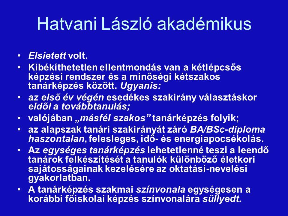 Hatvani László akadémikus Elsietett volt.