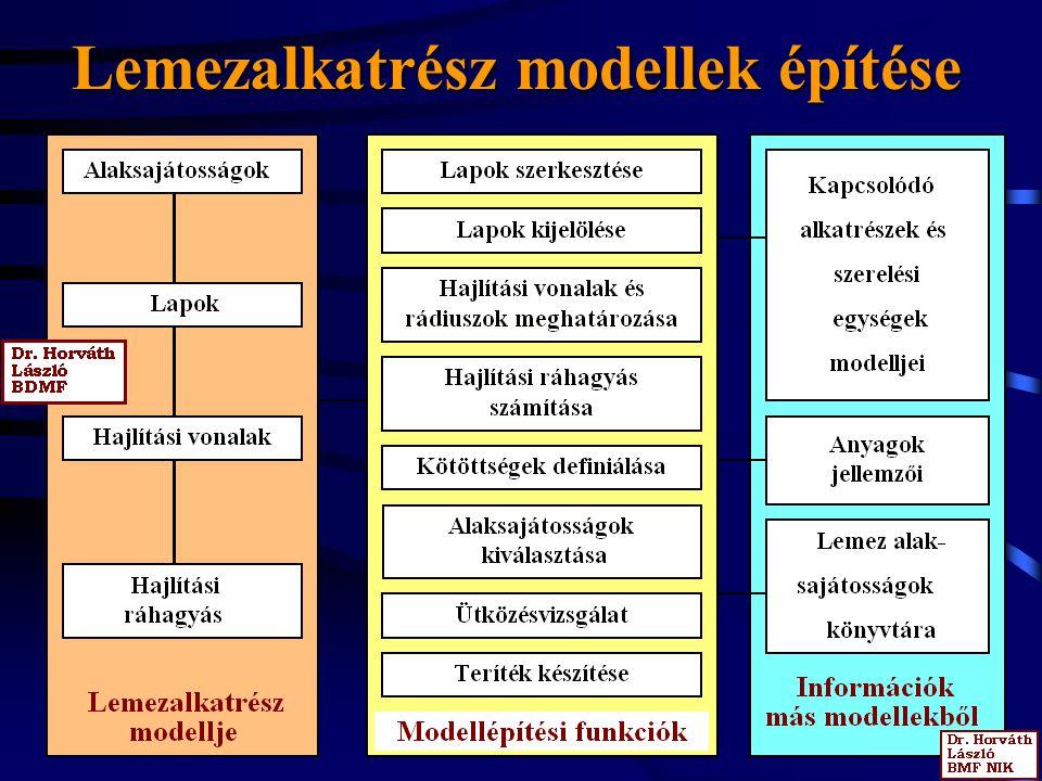 Lemezalkatrész modellek építése