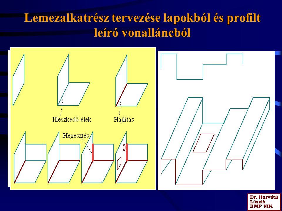 Lemezalkatrész tervezése lapokból és profilt leíró vonalláncból