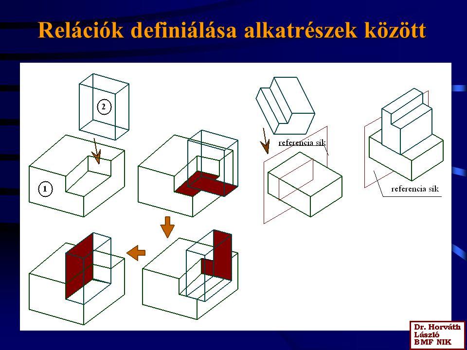 Relációk definiálása alkatrészek között